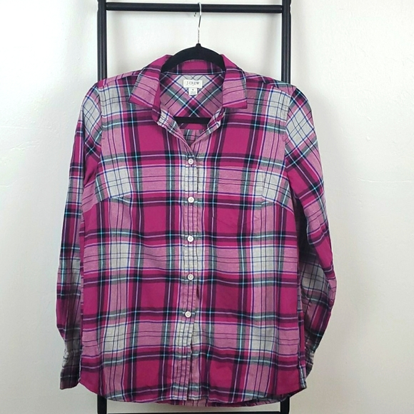 J.Crew flannel top blouse buttons up size S